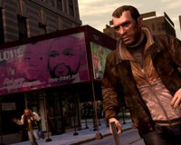 Niko Bellic and some guy panicking in the background