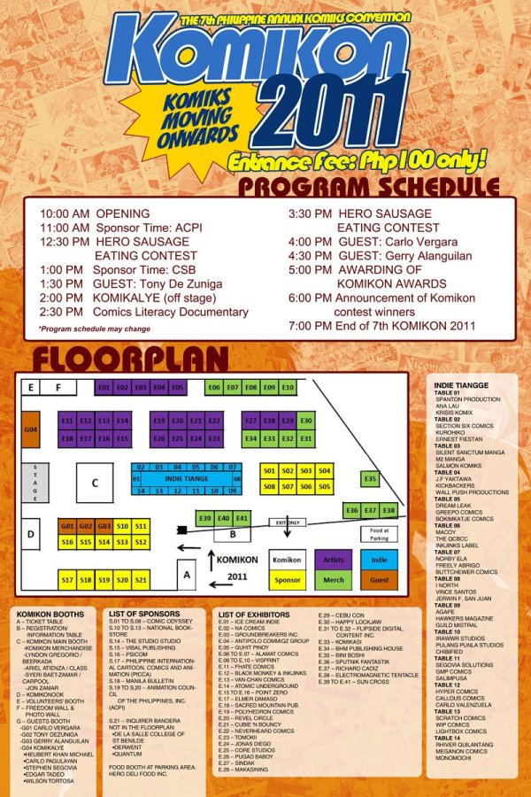 Komikon 2011  Program Schedule and Floor Plan