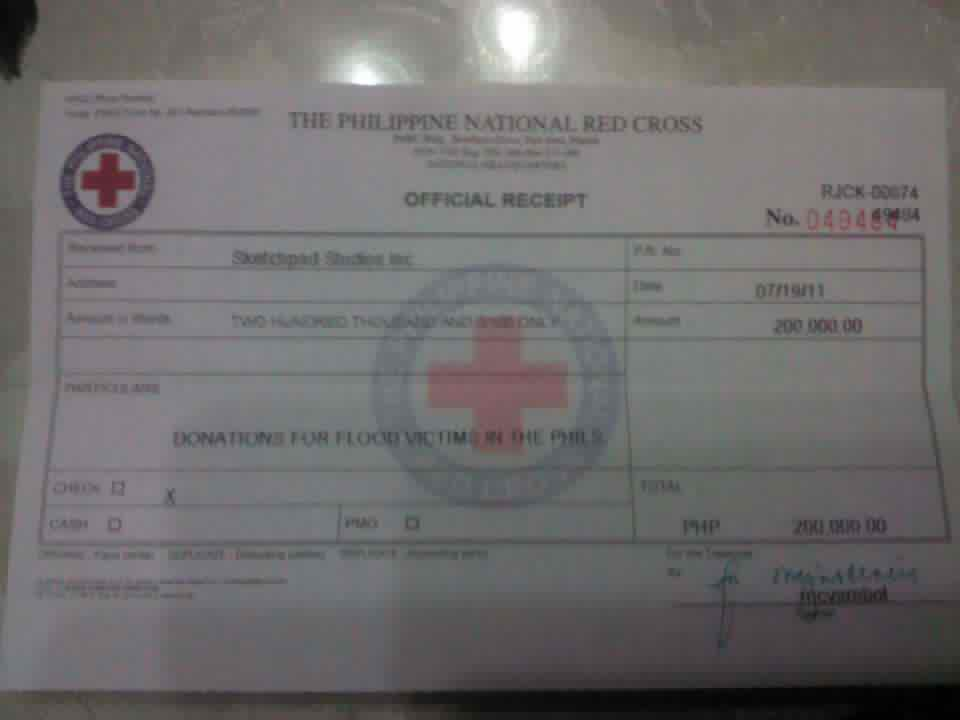 Official receipt of donations to the Philippine National Red Cross posted on Metro Comic Con Facebook group page