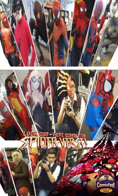 (Left-to-Right) - TOP: Last Stand Spider-Man, Italian Spider-Man, Ultimate Spider-Man (Miles Morales), Webb's Spider-Man (ASM2), Spider-Girl, Symbiote Spider-Man. MIDDLE: Webb's Spider-Man (ASM2), Spider-Woman, Spider-Gwen, Peter Parker, Lego Spider-Man, Spider-Man Noir. BOTTOM: Webb's Spider-Man (ASM1), Gwen Stacy, Some Guy Pretending To Be Peter Parker, Spider-Man Noir