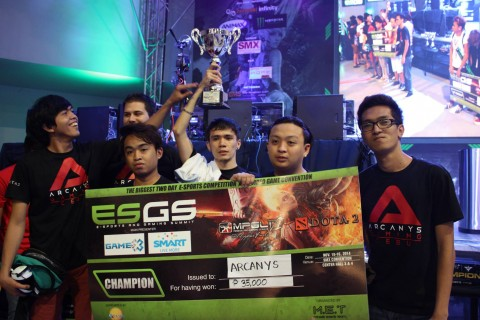 Cebu-based Arcanys bagging the championship at the DOTA 2 ESGS final. Photo by Chloe Cabrera.