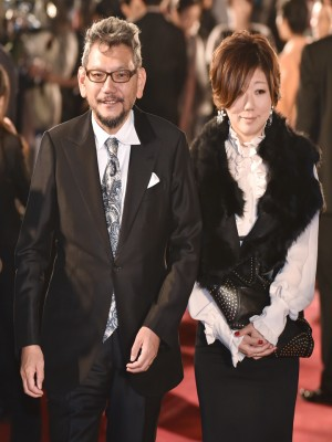 Hideaki Anno(L), and mangaka Moyoko Anno at the red carpet event for Tokyo International Film Festival. Photo by AFP.