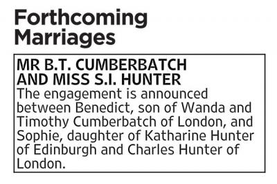 Cumberbatch wedding announcement