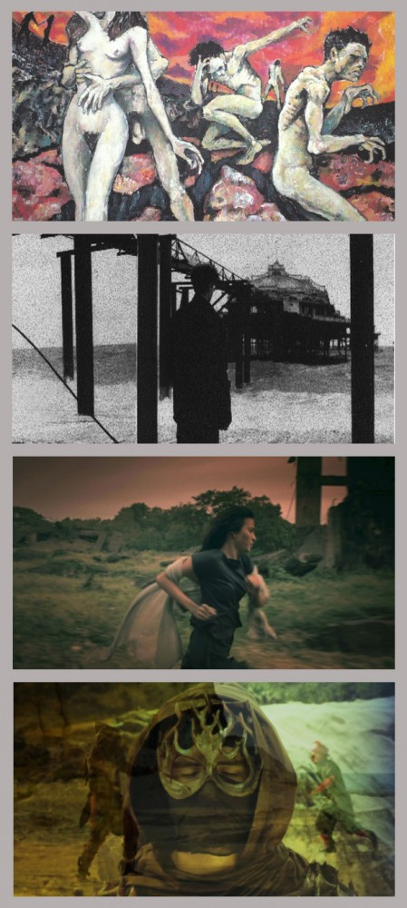 "Some of Keith Sicat's sample works (From Top to Bottom): A painting of Keith during his High School days at World Trade Center, Baltimore; A still from his experimental 8mm film ""The Trickle Effect""; Alessandra De Rossi in ""Woman of The Ruins""; A still from the still in production ""Blade of The Maiden."""