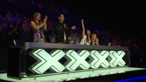 with copyright-Asia's Got Talent Judges L-R Melanie C, Van   Ness Wu, Anggun, David Foste...