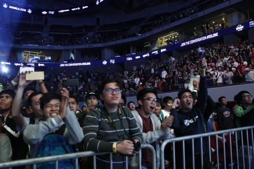 The crowd cheers on Wings Gaming after their victory against Team Liquid