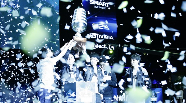 ESL One Manila champion Wings Gaming celebrates its victory