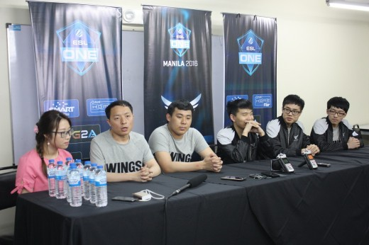 Wings Gaming during their post-victory presscon