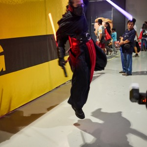 This cosplayer struck an amazing pose for the cameras.