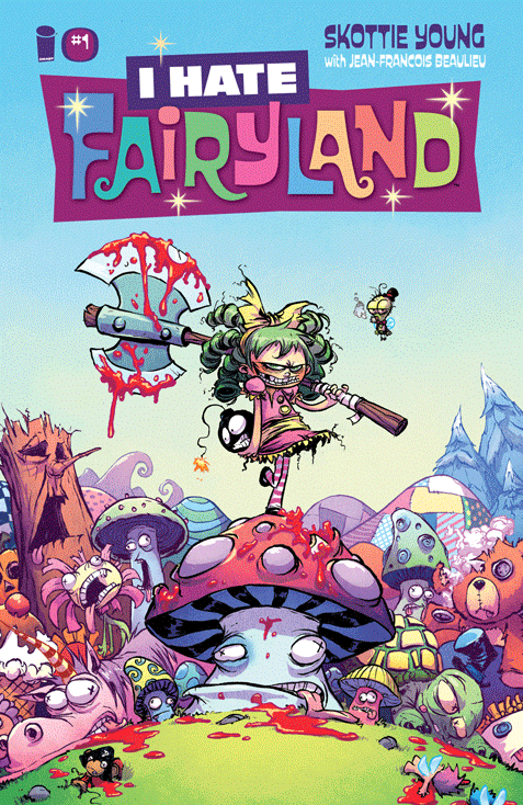 Superstar SKOTTIE YOUNG (Rocket Raccoon, Wizard of Oz) makes his Image debut with an ALL-NEW SERIES! The Adventure Time/Alice in Wonderland-style epic that smashes its cute little face against Tank Girl/Deadpool-esque violent madness has arrived. In an adventure that ain't for the little kiddies, (unless you have super cool parents, then whatever), you'll meet Gert—a six year old girl who has been stuck in the magical world of Fairyland for thirty years and will hack and slash her way through anything to find her way back home. Join Gert and her giant battle-axe on a delightfully blood soaked journey to see who will survive the girl who HATES FAIRYLAND.