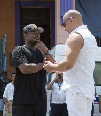 (L to R) Director F. GARY GRAY and VIN DIESEL as Dom on the set of Fast & Furious 8