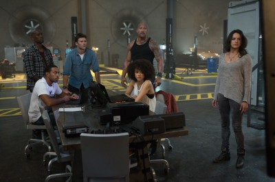 "(L to R) Roman (TYRESE GIBSON), Tej (CHRIS ""LUDACRIS"" BRIDGES), Little Nobody (SCOTT EASTWOOD), Hobbs (DWAYNE JOHNSON), Ramsey (NATHALIE EMMANUEL) and Letty (MICHELLE RODRIGUEZ) realize Dom's gone rogue in Fast & Furious 8."