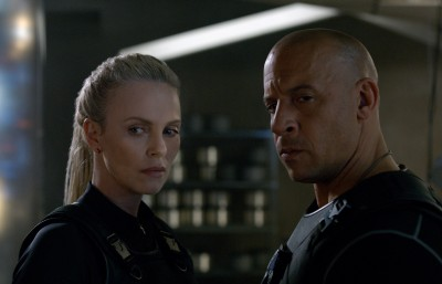 Cipher (CHARLIZE THERON) recruits Dom (VIN DIESEL) in Fast & Furious 8.