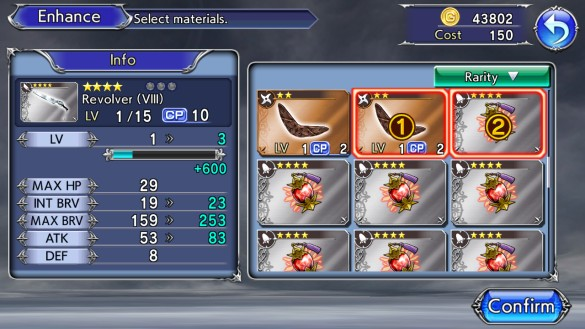 Equipment can be upgraded with crafting materials, other equipment, or a combination of both