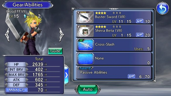 Cloud Strife from FFVII sporting four-star silver standard equipment. Equipping weapons and armor with an affinity to that character grants additional bonus in battle. Characters equipped with these show an aura around them