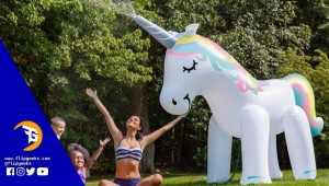 Giant Unicorn Yard Sprinkler feat