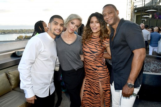 SAN DIEGO, CALIFORNIA - JULY 19: (L-R) Rick Gonzalez, Katie Cassidy, Juliana Harkavy and guest at BuzzFeed Presents: A Batsh!t Crazy Bash With The CW's Batwoman at San Diego Marriott Gaslamp Quarter on July 19, 2019 in San Diego, California. (Photo by Matt Winkelmeyer/Getty Images for BuzzFeed and The CW)